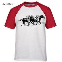 Fashion Brand Clothing Fitness T Shirt Horse Track Interesting Cotton Hip Hop Tees Tops Summer Raglan