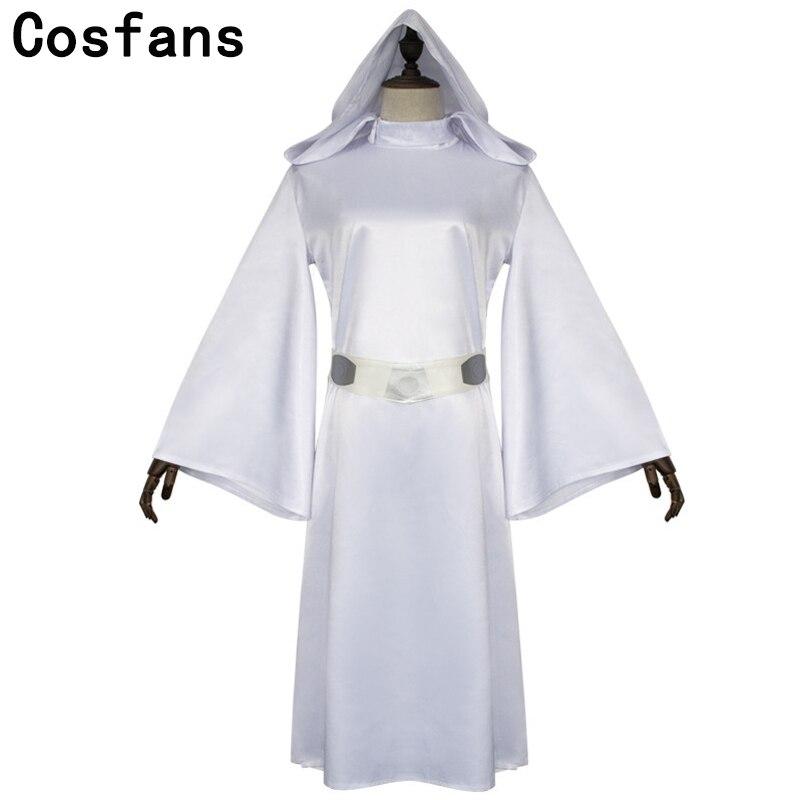 Принцесса Leia Organa Solo Косплей белое длинное платье набор париков женщина Звездные войны Cos костюмы на Хеллоуин костюмы на Карнавал косплей дисгвимент