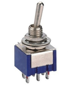 100 pçs/lote 6-Pin DPDT ON-OFF-ON Mini Toggle Switch 6A 125VAC Mini Switches