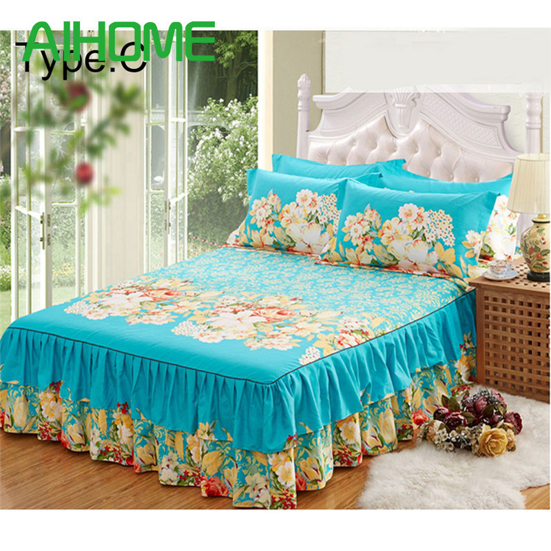 New Sanding Bedspread Queen Bed Skirt Thickened Fitted Sheet Single Double Bed Dust Ruffle Princess Bedsheet Pillowcase