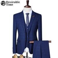 ที่พึงประสงค์เวลาบุรุษชุดแต่งงานชุดสูททักซิโด้แฟชั่นสีฟ้าTernoบางพอดีธุรกิจเกาหลีลายสก๊อ...