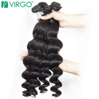Loose Wave Bundles 1 Pc Peruvian Human Hair Weave Virgo Hair Company 100% Natural Remy Hair Extensions Can Be Dyed Straightened