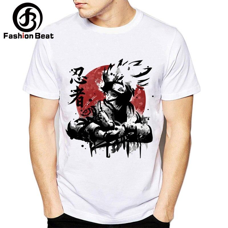 b1ba4ce68 New Style Anime Naruto T Shirts Fashion Hatake Kakashi Character Design Print  Ninja Men Women T-shirt In The Summer of 2018