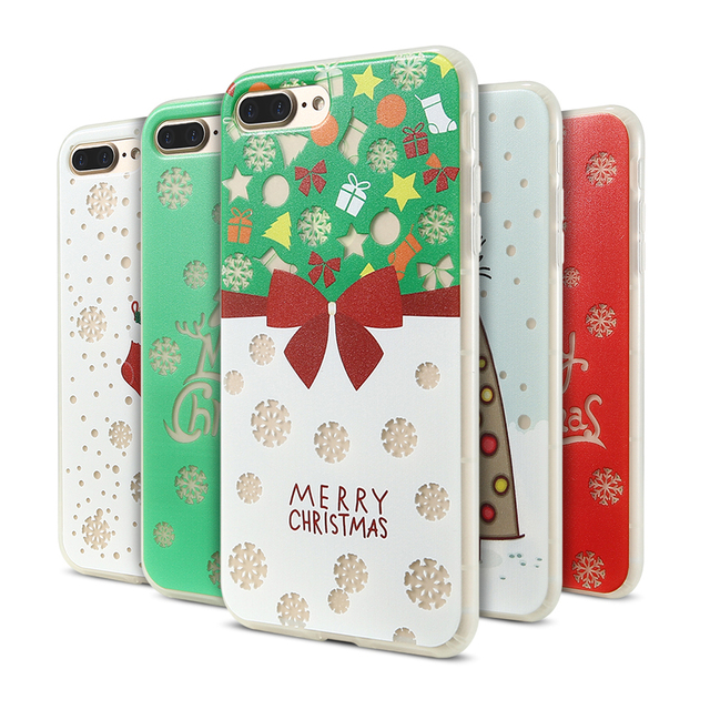 yi merry christmas case for iphone 7 8 plus luxury luminous christmas tree cover