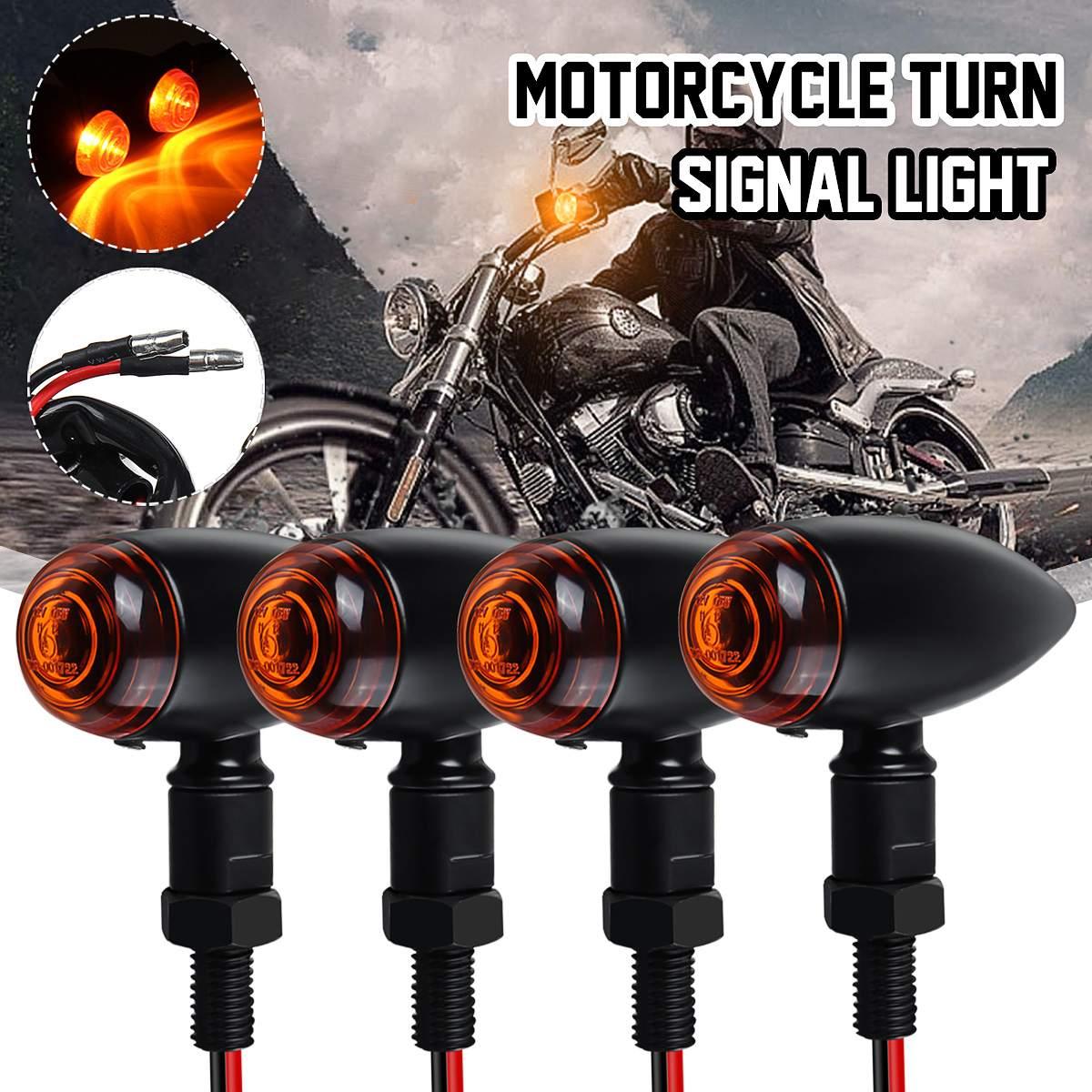 Universal 12V Motorcycle Turn Signal Lights Amber Indicator Lamps Retro Vintage E-Mark Approved For Harley/Honda/Yamaha/Suzuki