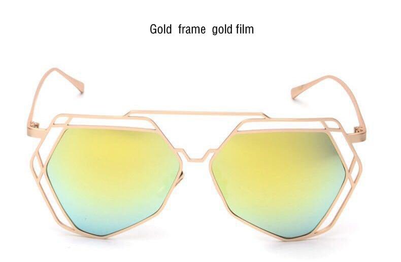 Brand Designer 2017 New Big Mirror Sunglasses Women Hexagon Lovers Hippie Ladies Sunglasses UV400 Pilot Rose Gold Sun Glasses