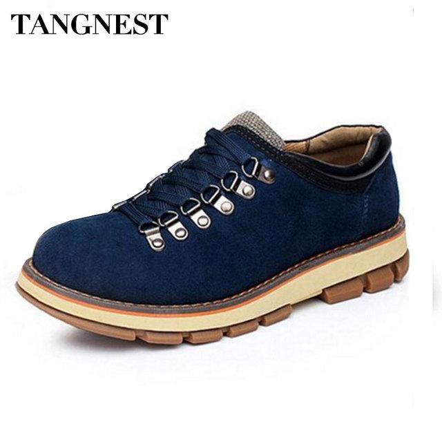 Tangnest 2017 Hombres Zapatos Planos Estilo Británico Retro Del Dedo Del Pie Redondo cordones de Los Zapatos Ocasionales Para Los Hombres de Trabajo de Seguridad Botas de Tamaño 38-44 XMB158