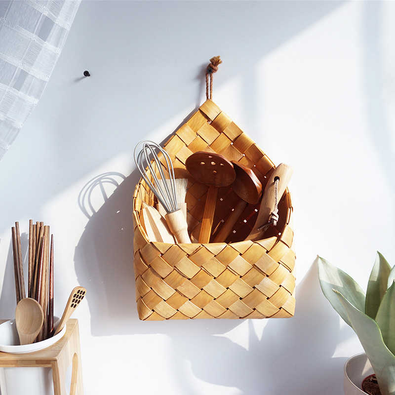 Fruit Picnic Sundries Basket Kitchen Debris Storage Diners Basket Organizer Creative Handmade Wooden Chips Woven Storage Basket