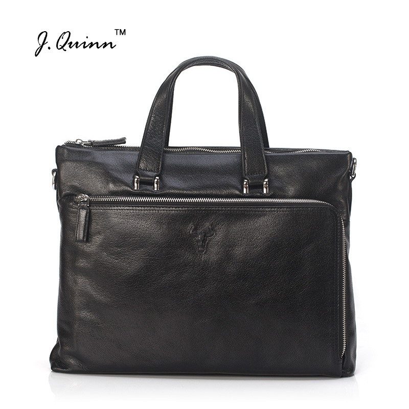 J.Quinn Male Business Briefcase Men Handbag Classic Real Cowhide Leather Zipper Laptop Tote Bag Men's Crossbody Shoulder Bags