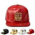 Carta de Oro Logo Hip Hop Gorra de Béisbol 50 DEL Cuero diamantes de imitación de Lujo de La Calle Unisex Mujeres Hombres Punk Enarboló El Sombrero Del Snapback Cap