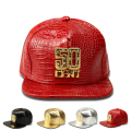 Letter Golden Logo Hip Hop Leather Baseball Hat 50 CENT Rhinestones Luxury Street Unisex Women Men Punk Peaked Snapback Hat Cap