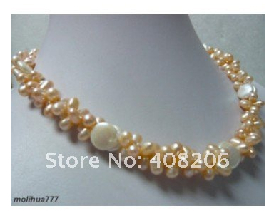 Hot sell >@@ Charm Pink Pearl White Button Pearl Necklace and Gift Top quality free shipping