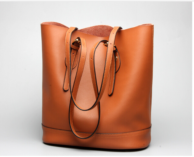 Fashion women's genuine cow leather bag all-match bucket bag one shoulder women's handbags