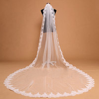 4M High Quality France Lace Appliques Lace Edge Bridal Mantilla Veil with Comb Velo De Novia Wedding Veils Accessories