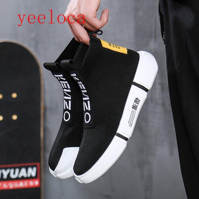 Vulkanisierte Herrenschuhe Gewidmet Yeeloca Frühjahr Neue Männliche Hohe Gang Socken Schuhe Koreanische Version Von Jugend Flut Schuhe Männer Beiläufige Einzelne Schuhe