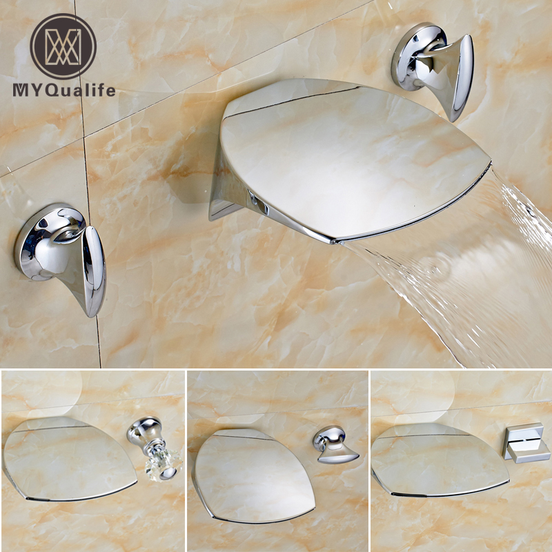 Luxury Dual Handle Waterfall Bathroom Basin Sink Faucet Wall Mounted Widespread Mixer Water Taps luxury wall mounted bathroom basin faucet single handle golden finish sink mixer