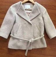 De gama alta de personalización de las mujeres abrigo de invierno, abrigo elegante chaqueta de lana delgada básica elegante, tweed jaqueta feminina, plus tamaño 5XL 6XL