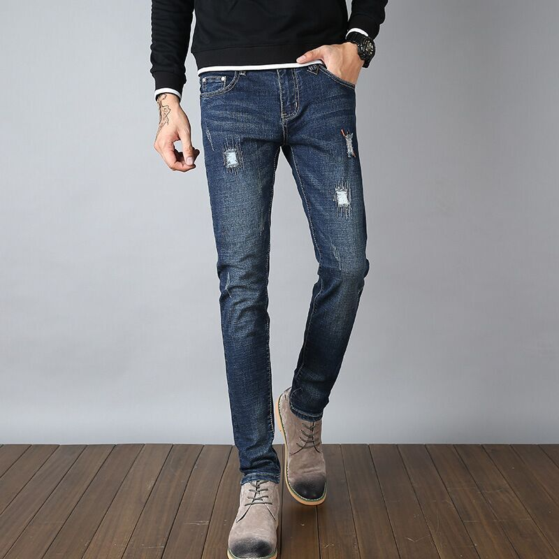 Mens jeans, elastic patches, teenage fashion, small feet, long trousers, students wholesale sales.