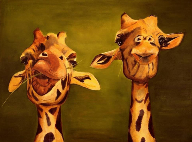 Abstract Wall Art Hang Pictures Handpainted Giraffe Friends Animal ...