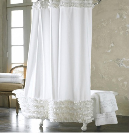 Home Decoration Bathroom Shower Curtain Waterproof Moldproof Solid Polyester Fabric Lace With Hook Elegant White Cortina In Curtains From