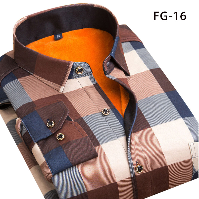 Aoliwen Winter Warm Shirt Plus Velvet Thickening Fashion Print Plaid Shirt Long Sleeve Men's Brand Shirt Dress Shirt SizeL-5XL