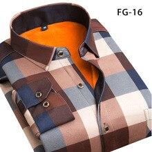 Aoliwen الشتاء الدافئة قميص زائد المخملية سماكة موضة طباعة منقوشة قميص طويل الأكمام الرجال ماركة قميص فستان قميص sizeL 5XL