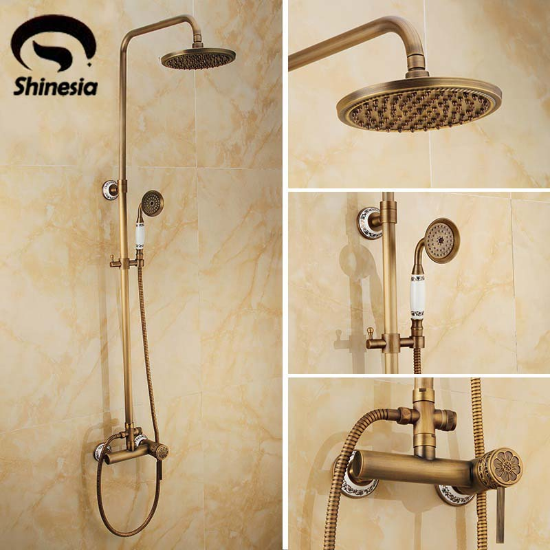 Newly Wall Mounted Rain Shower Set Faucet 8 Shower Head W/ Ceramics Handheld Shower Antique Brass Mixer Tap Single Handle