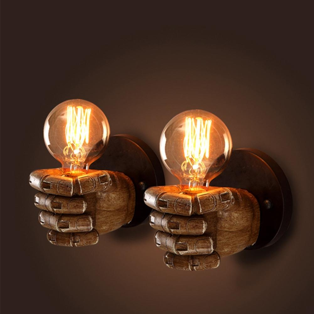LanLan Retro Creative Fist Shape Wall Light E27 Lamp Holder Industrial Style Wall Lamp New Year Decoration for Home Bar jk30