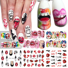 1 stks Nail Stickers Sexy Lippen Cool Girl Water Decals Wraps Cartoon Sliders Voor Nagel Decoratie Manicure Kleurrijke Tip BESTZ756-763(China)