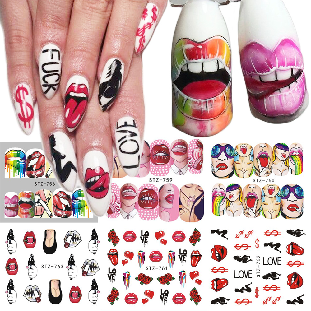 1pcs <font><b>Nail</b></font> <font><b>Stickers</b></font> <font><b>Sexy</b></font> Lips Cool Girl Water Decals Wraps Cartoon Sliders For <font><b>Nail</b></font> Decoration Manicure Colorful Tip BESTZ756-763 image