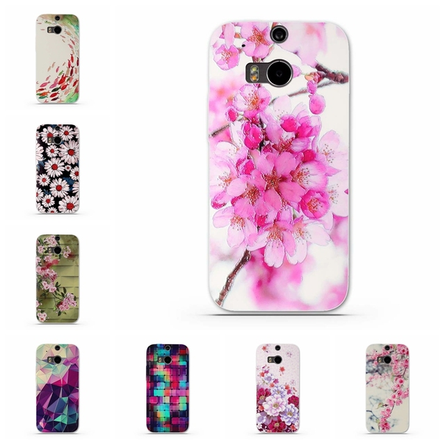 Luxury Floral Painted 3D Relief for HTC One M8 M8s Case For HTC M8/M8S Flower Cell Phone Cases Cover for HTC One M8/ M 8 S /M 8