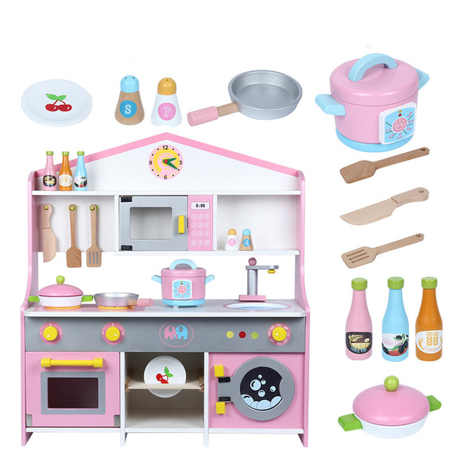 wooden toy kitchen small kitchens designs 2018new simulation pink japanese large size child educational food toys play house christmas birthday gift