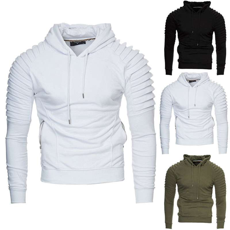 Mens Plus Size Hoodie Hooded Sweat Shirt Casual Pullover Jumper Top Plain Fleece