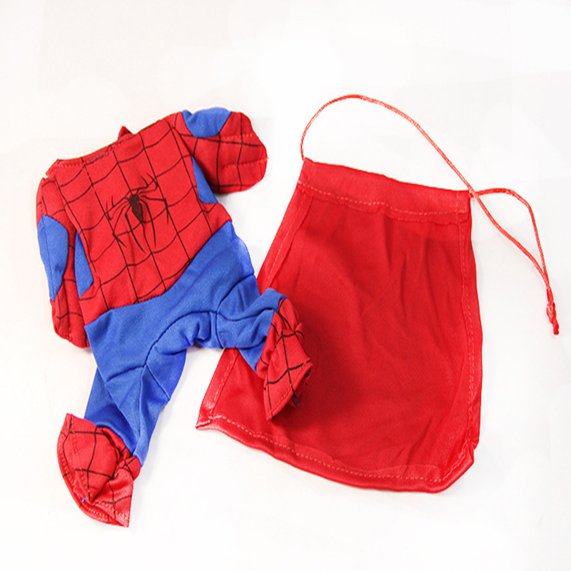2017 top <font><b>pet</b></font> Summer clothes for small dogs cosplay <font><b>spiderman</b></font> <font><b>costume</b></font> Doggy suit funny dog dress clothes Conjoined