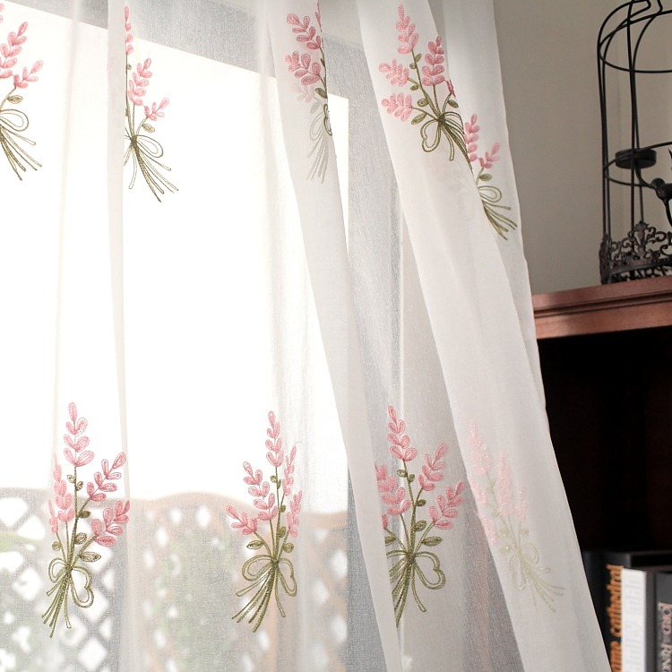 Embroidered Curtain Pastoral Bedroom Floating Window Living Room Aesthetic and Romantic Finished Curtain in Curtains from Home Garden