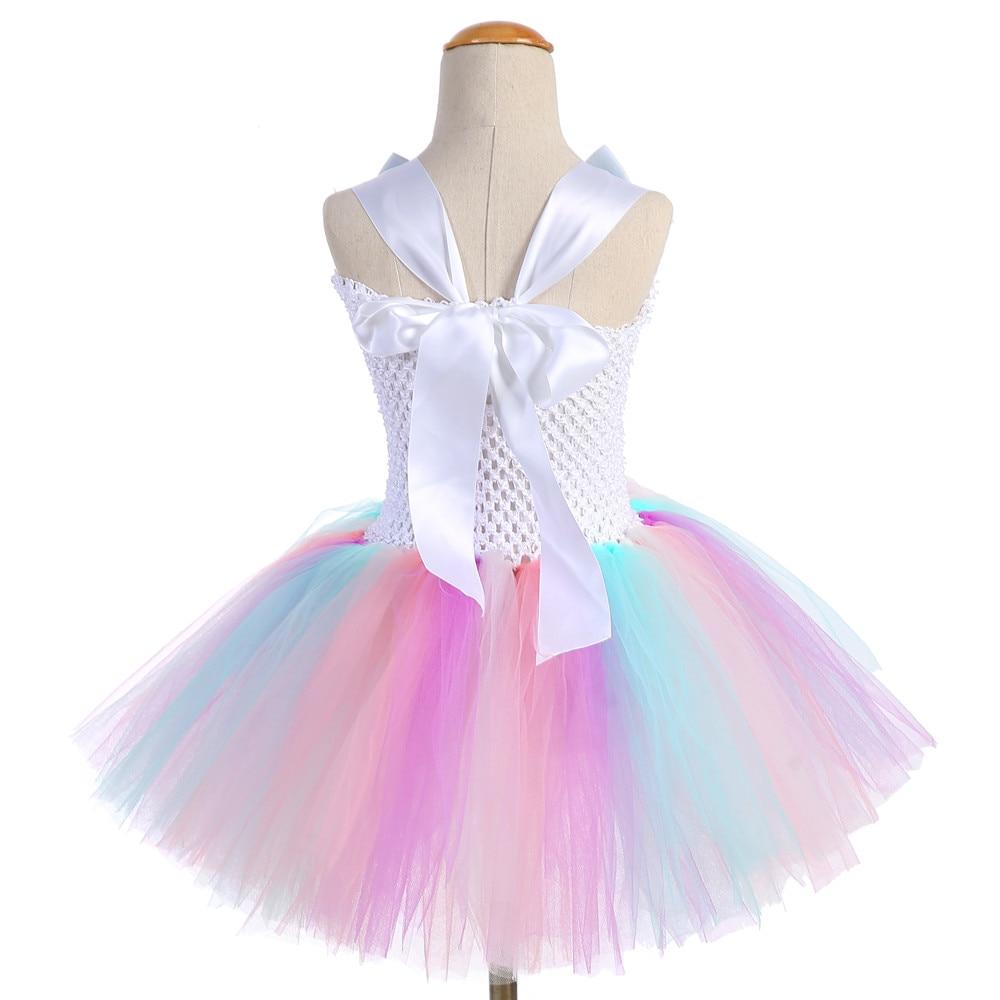 Cute Girl Unicorn Tutu Dress for Little Kid Flower Pony Birthday Party Knee Length Dress Outfit Pastel Unicorn Halloween Costume (3)