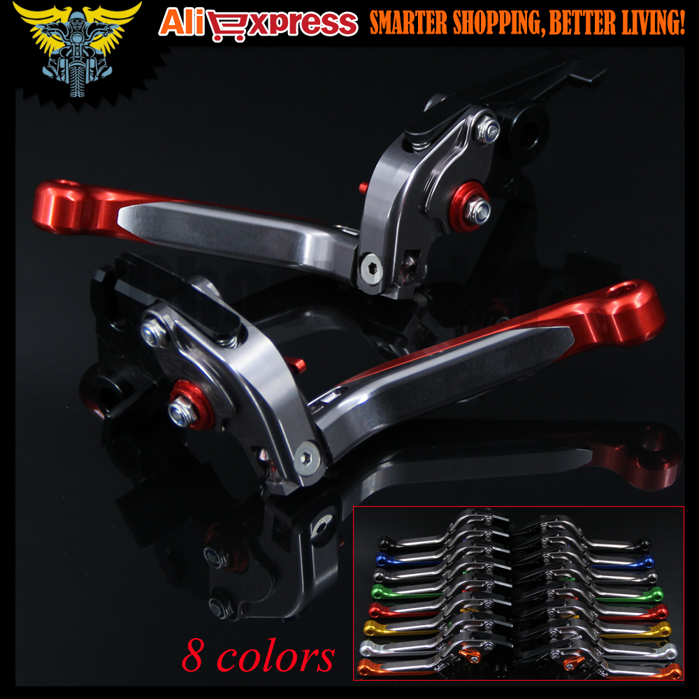 Red+Titanium 8 Colors CNC Adjustable Folding Extendable Motorcycle Brake Clutch Levers For Honda CBR650F/CB650F 2014 2015 2016 billet alu folding adjustable brake clutch levers for motoguzzi griso 850 breva 1100 norge 1200 06 2013 07 08 1200 sport stelvio