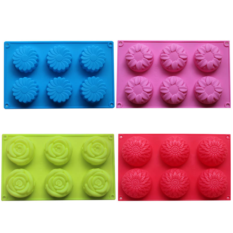 Silicone Handmade Soap Mold With 6 holds Silicone Cake Baking Mold Decorating Tools Sunflower Rose Flower