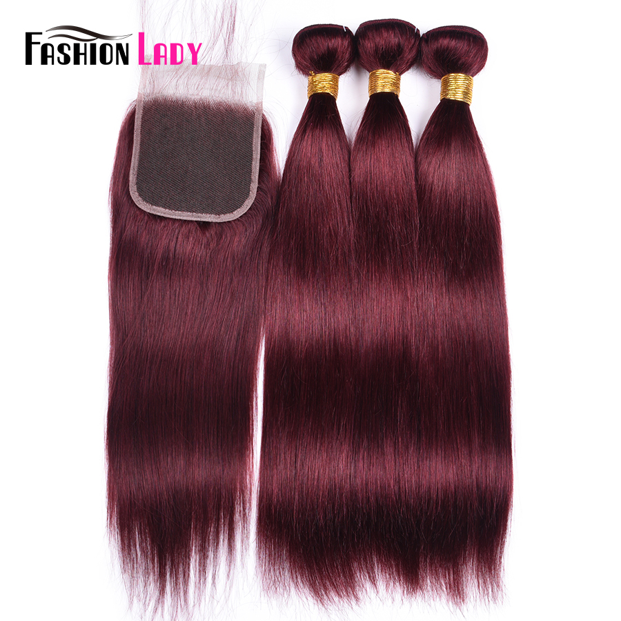 Fashion Lady Pre-Colored 3Pcs With Closure Brazilian Straight Human Hair Weave Bundles With Closure 2color For Choosing Non-Remy