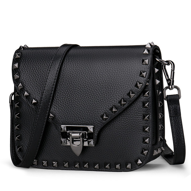 Genuine Leather Women Crossbody Bags Handbag 2018 New Fashion Rivet Design Messenger Shoulder Strap