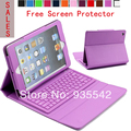 Wireless Bluetooth Silicone QWERTY Keyboard  PU Leather Stand Case for Apple iPad Miini / Mini 2 with Retina Display ( Purple)