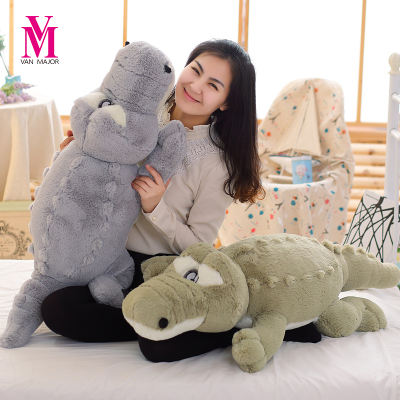 Creative Oversized Cute Crocodile Lying Section Plush Pillow Mat Plush Hand Doll Stuffed Toy Cartoon Plush Toys Kids Prize Gift cute labrador big plush toy lying dog doll search and rescue stuffed toys children birthday gift pillow