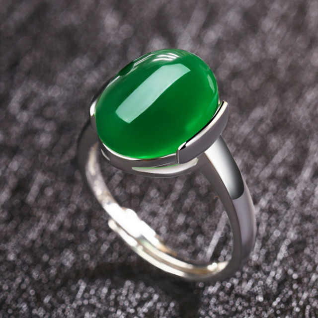 pure item stone sterling thai chrysoprase rings jewelry fnj for silver women green gz