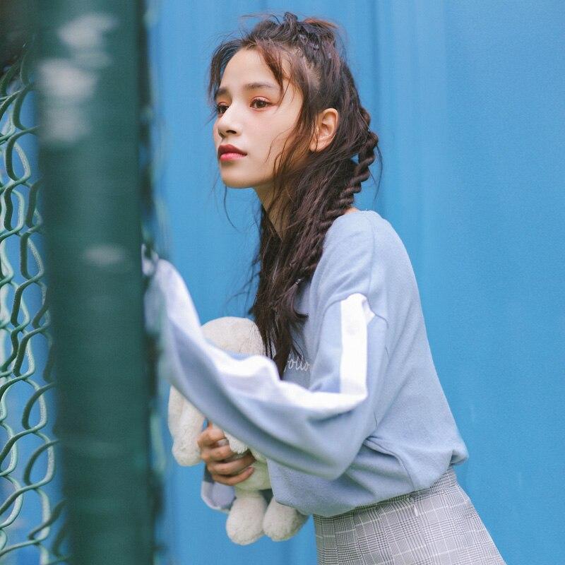 Manches Colorblock Coréenne Évider Vêtements Missoov shirt Version Femmes Bleu Lettre Lâche Longues Tops T Casual cou rose O Pulls À Pw6Y0