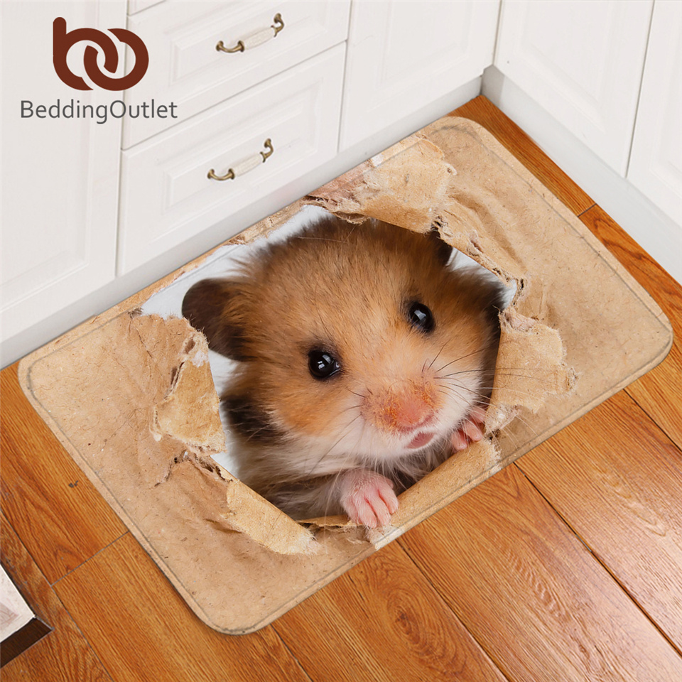 BeddingOutlet Hamster Soft Rug Papery Printing Floor Mat 3D Vivid Brown Mouse Carpet Lovely Animal Doormat For Kids Bedding