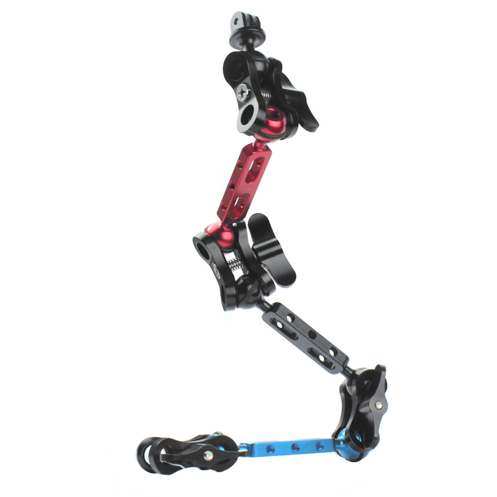 Lightweight Aluminum Alloy Butterfly Clip Joint Clamp Tripod Mount Kit for Gopro Hero4 Diving Lights Arm Ball FS F15298 Phone/Tripod