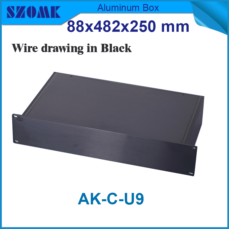 szomk extruded aluminum junction housing electronics enclosures for pcb design19 inch rack instrument  88(H)x482(W)x250(L) m 1 piece free shipping smooth surface aluminum color aluminium metal junction box for electronics pcb board design 38x150x155mm