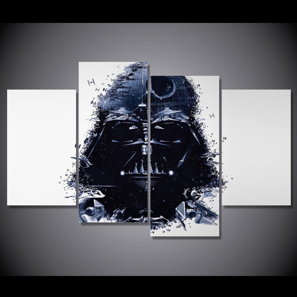 Φ_ΦHD impreso 4 unids Star Wars pintura en lienzo habitación ...