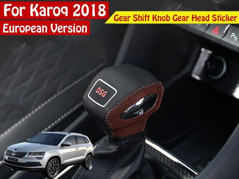Car Styling Car Gear Shift Knob Gear Head Cover Sticker For Skoda 2017 2018 Karoq cool skull style resin car gear shift knob blue