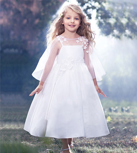 Two Pieces White Satin A Line Flower Girl Dresses Tulle Outside Spaghetti Straps Lace Applique Ruched Tea Length Kids In From